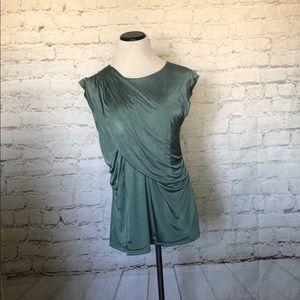 Ann Taylor Size L Green Sleeveless Drape Satin Top